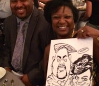 Live wedding caricatures from artist Mark Hall