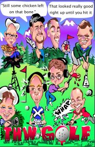 Caricature Of Men Playing Golf