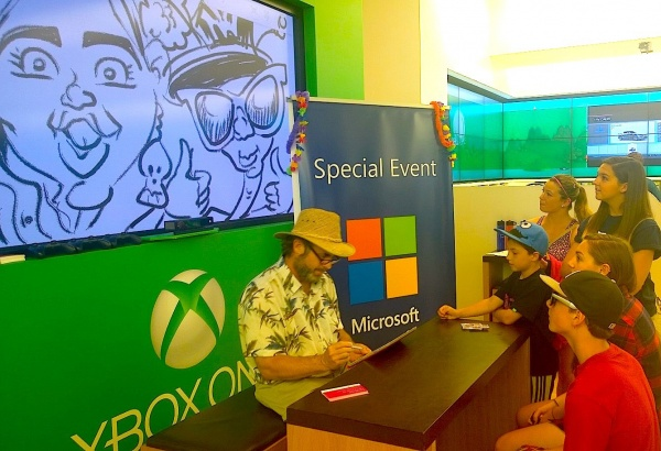 Digital Caricatures at Microsoft Event by Mark Hall