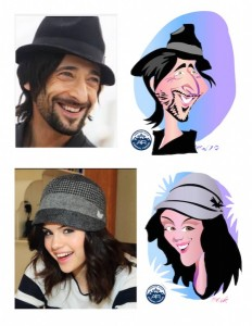 Caricature of Adrien Brody and Selena Gomez