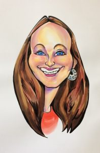 Caricature of Brunette with Blue Eyes
