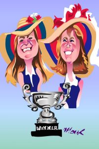 Caricature Drawing of Two Women Holding Trophy