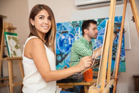 woman in art class drawing