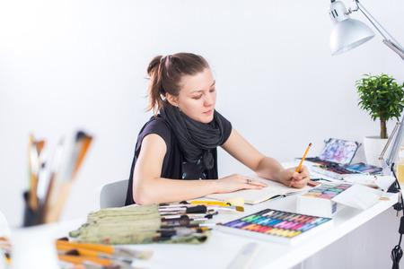 woman drawing caricature art